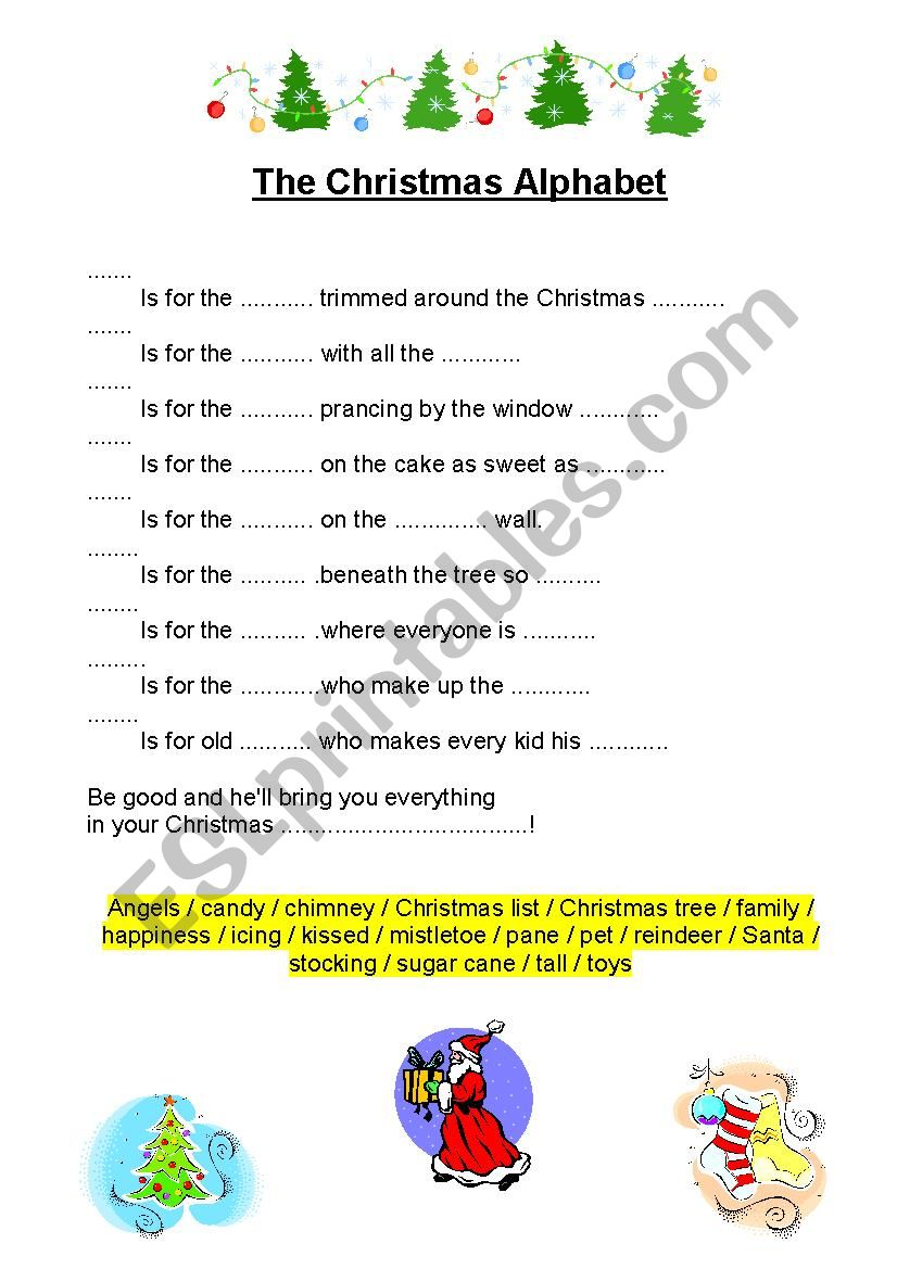 The Christmas Alphabet- Listening exercise with key