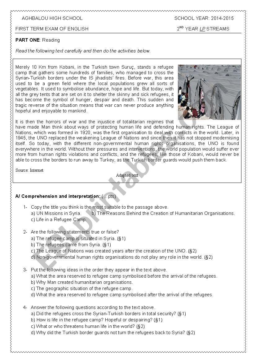 First Term Exam of English - Level 2 (LP-streams) - ESL