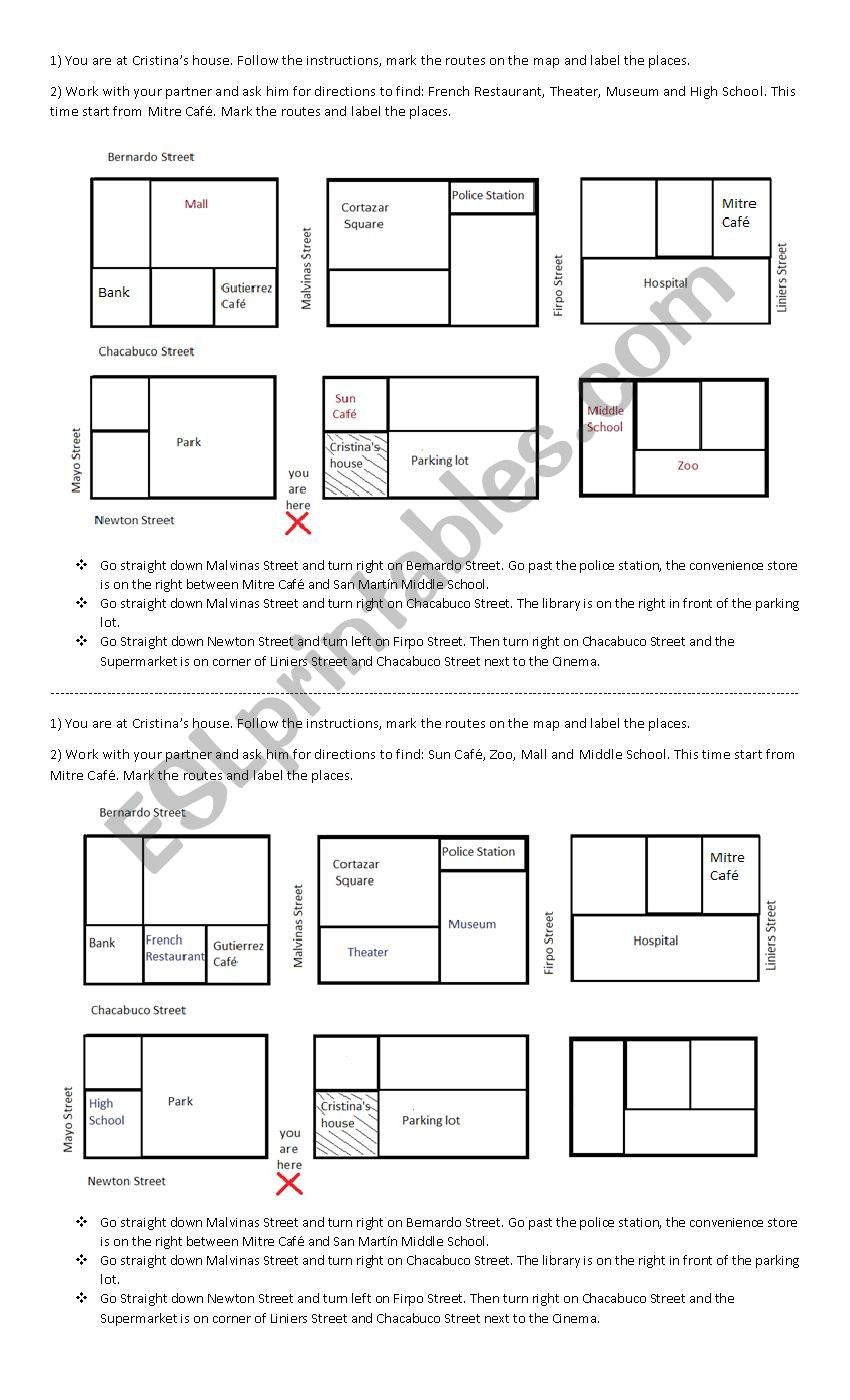 asking for and giving directions - ESL worksheet by Aracelicasti Regarding Following Directions Worksheet Middle School
