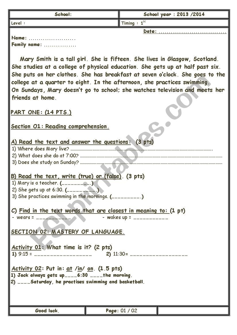 Test about daily routines  worksheet