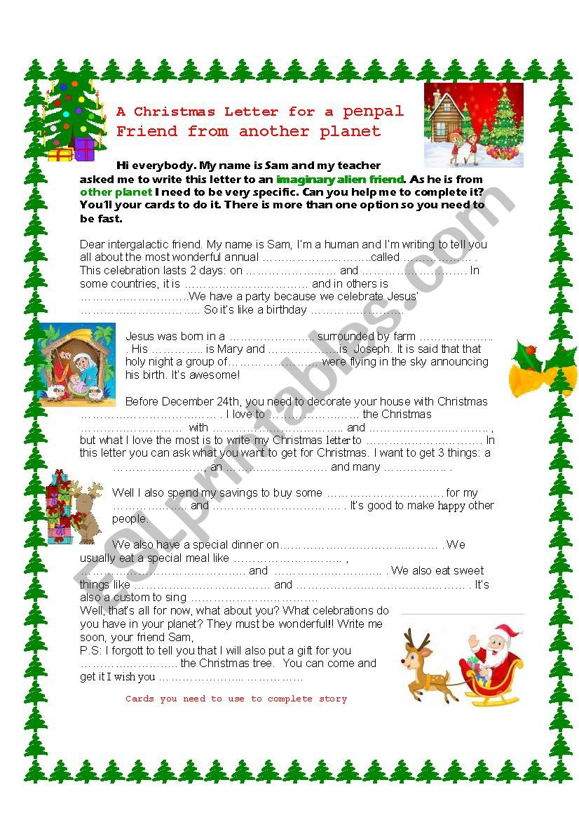 A Christmas Guessing Game plus cards and more ideas - ESL worksheet ...