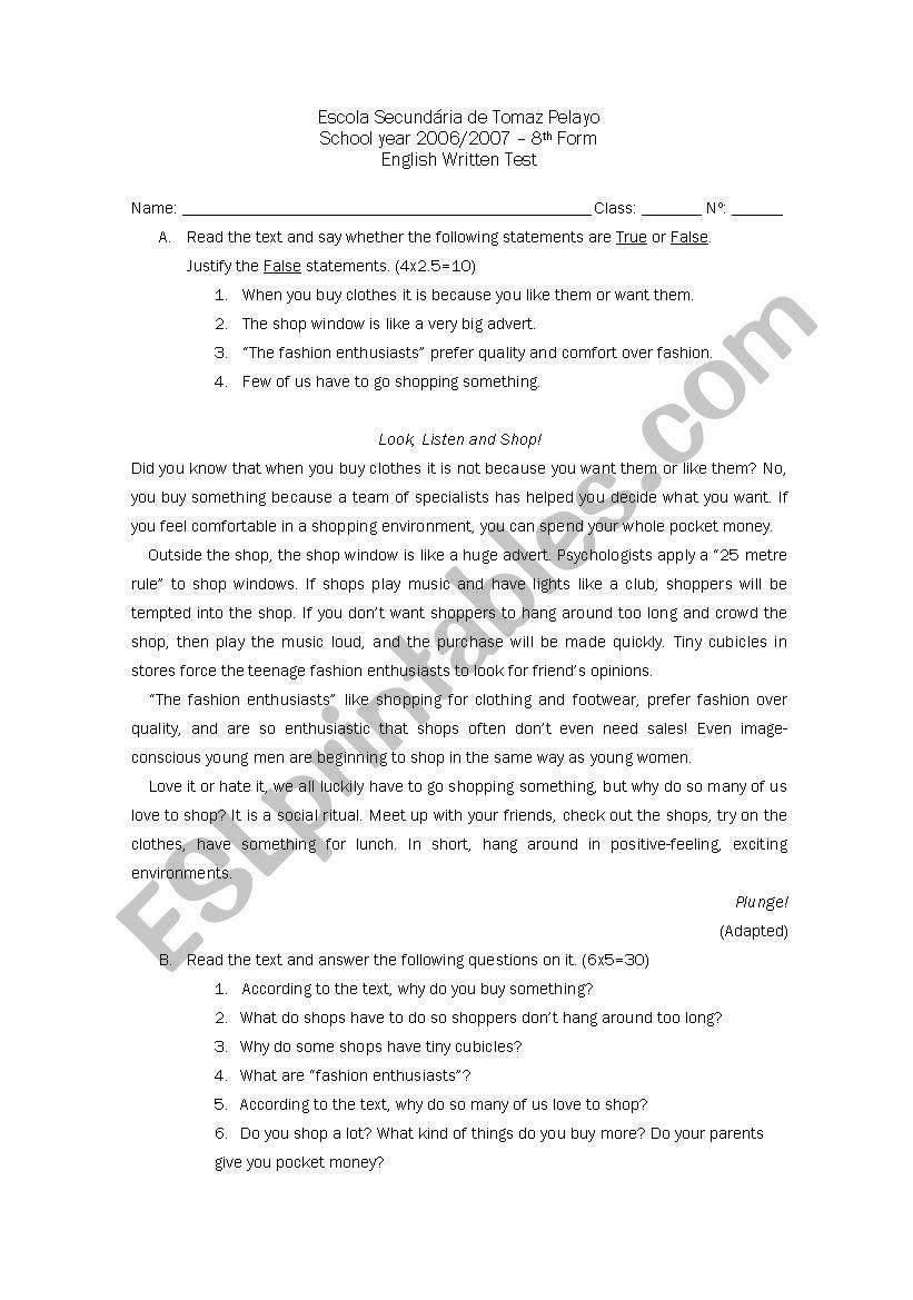 Test - 8th year worksheet