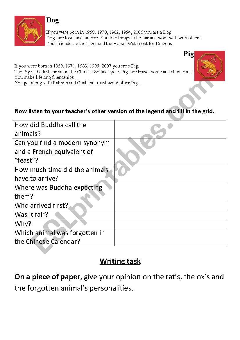 Chinese Zodiac - ESL worksheet by ruichan