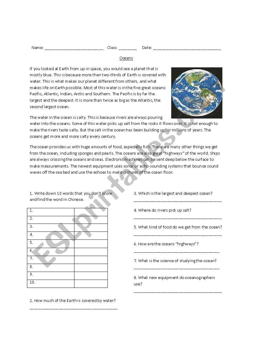 The Oceans worksheet