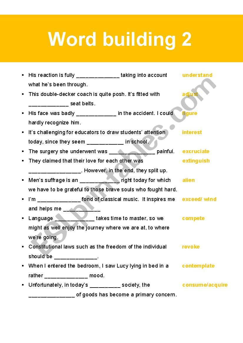Word Building 2 worksheet