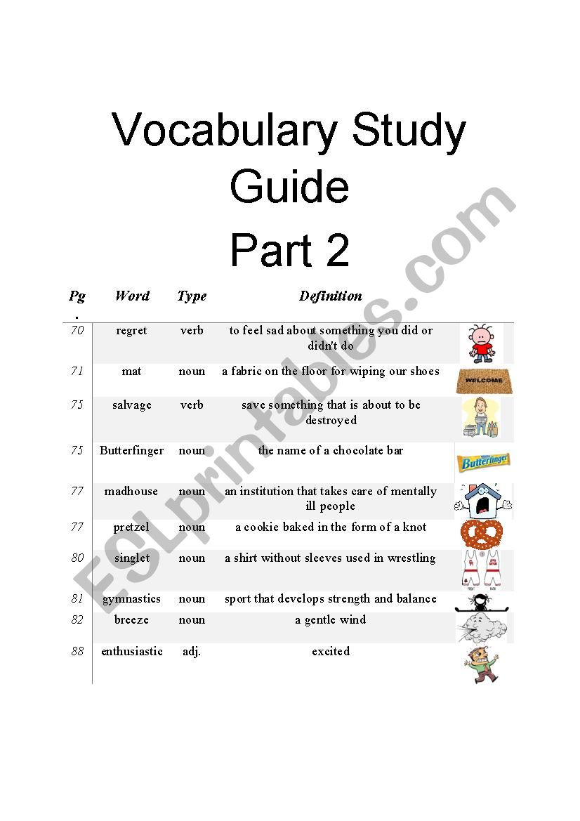 Diary Of A Wimpy Kid Vocabulary Study Guide Part 2 Of 3 Esl Worksheet By Allan 882