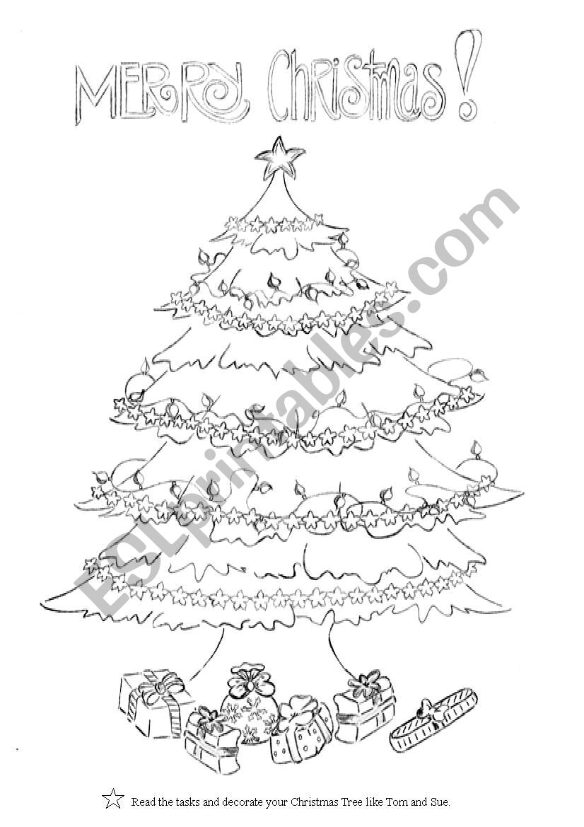 English Worksheets Christmas Tree And Maths