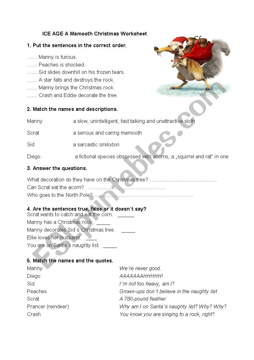 Ice Age Mamooth Christmas - ESL worksheet by edemianova