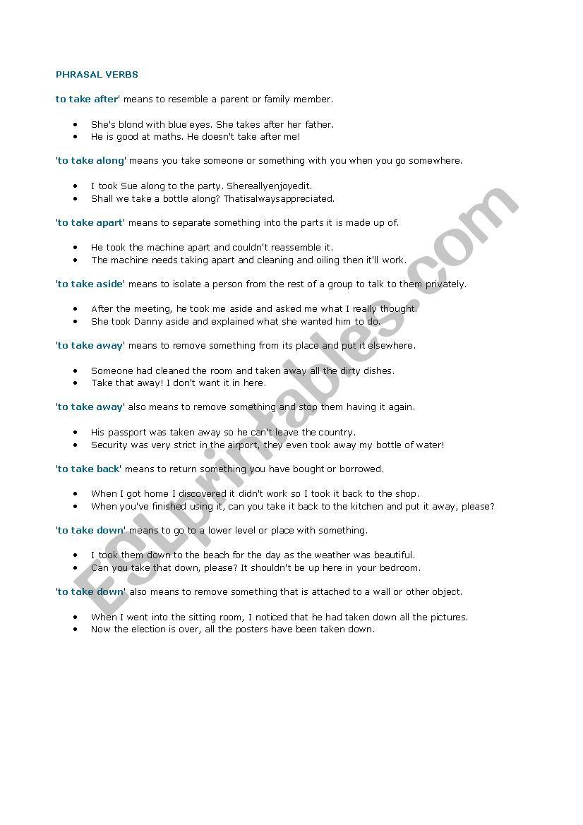 to take phrasal verbs worksheet