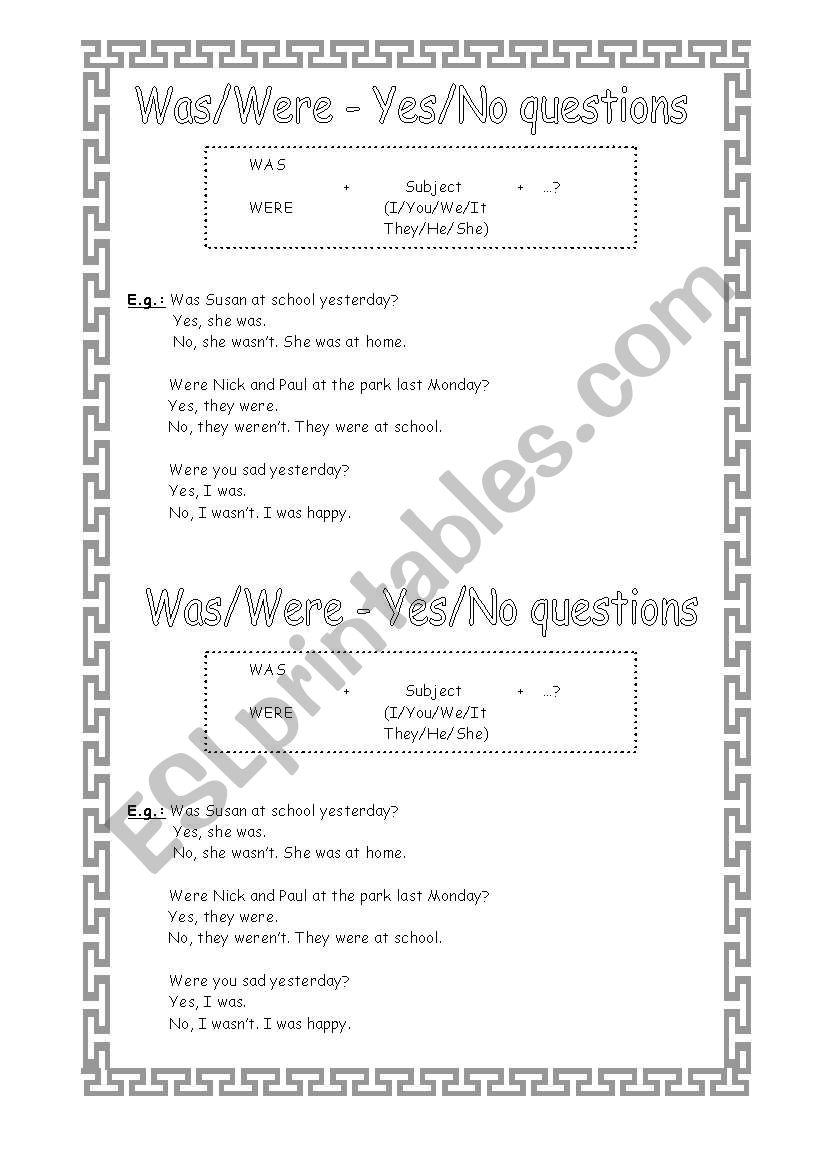 Was-Were (Yes/No Questions) worksheet