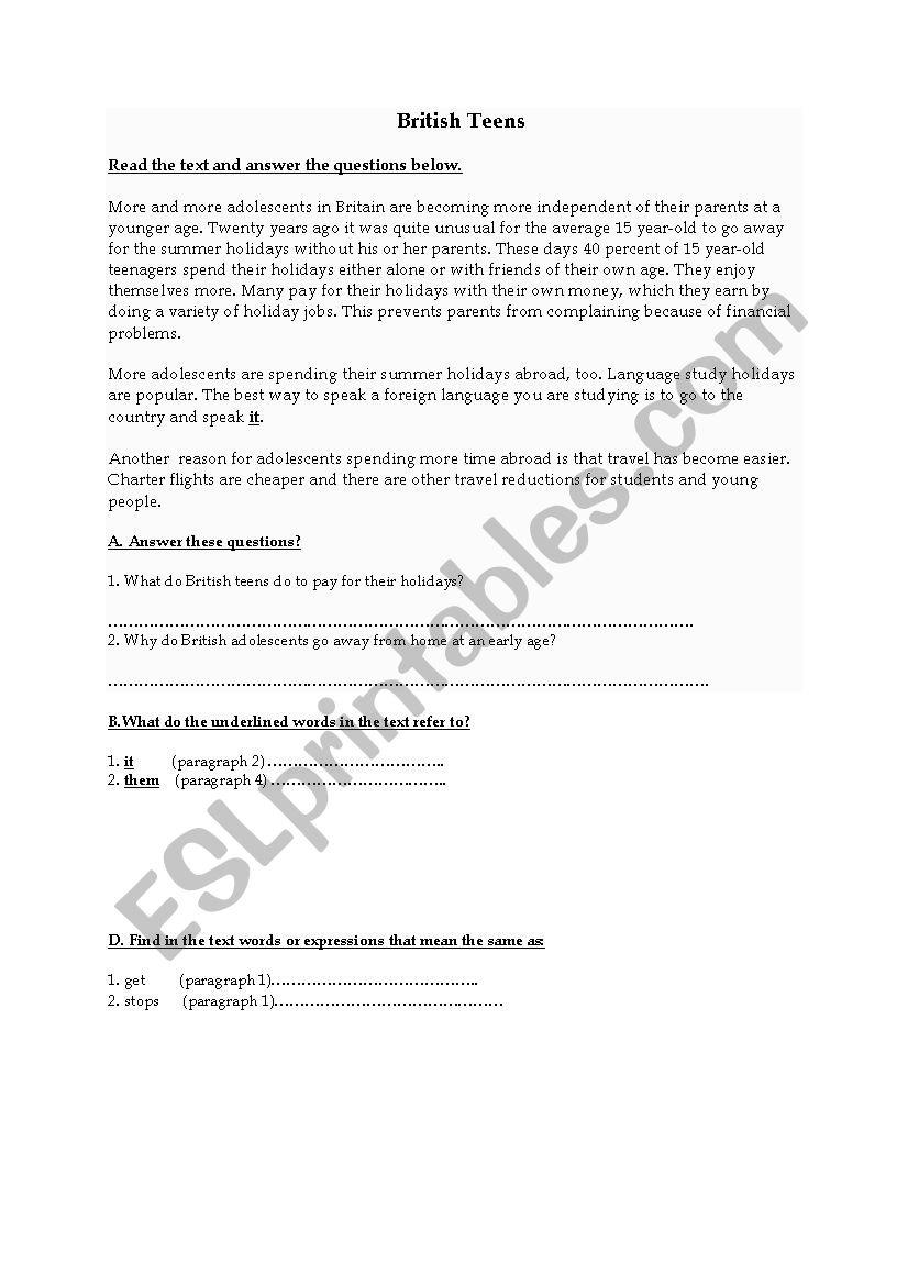 Reading (British culture worksheet