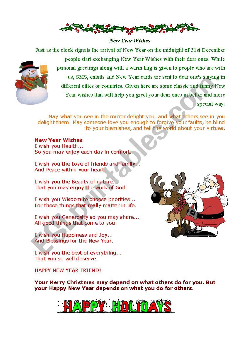 New Year Wishes worksheet