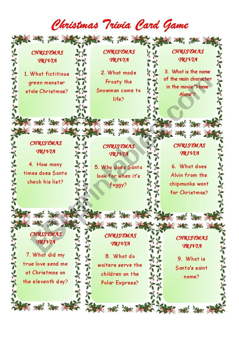 Christmas Trivia Game worksheet