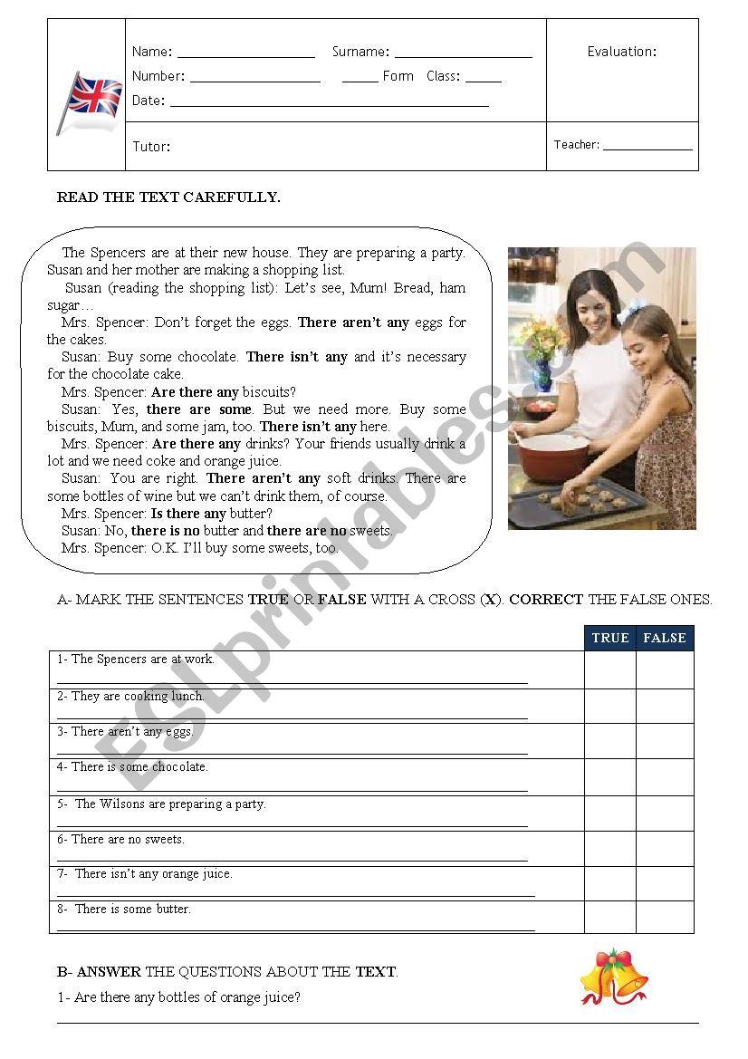 TEST 6th. Form worksheet