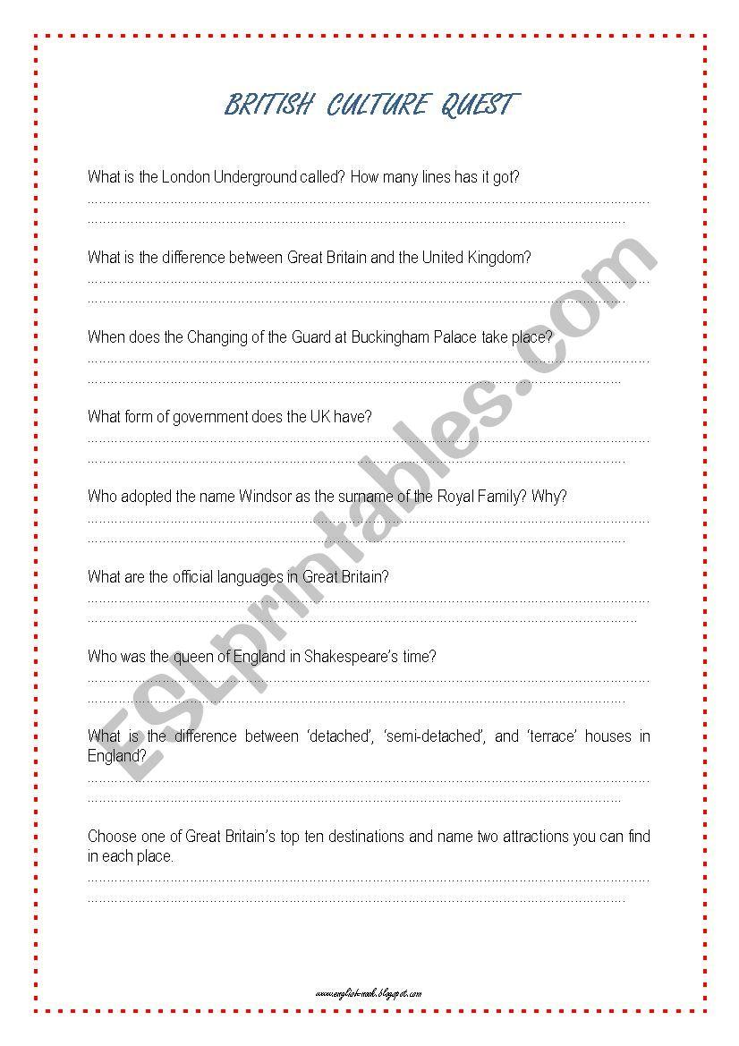 British Culture Quest worksheet