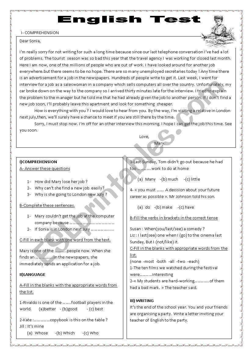 English test worksheet
