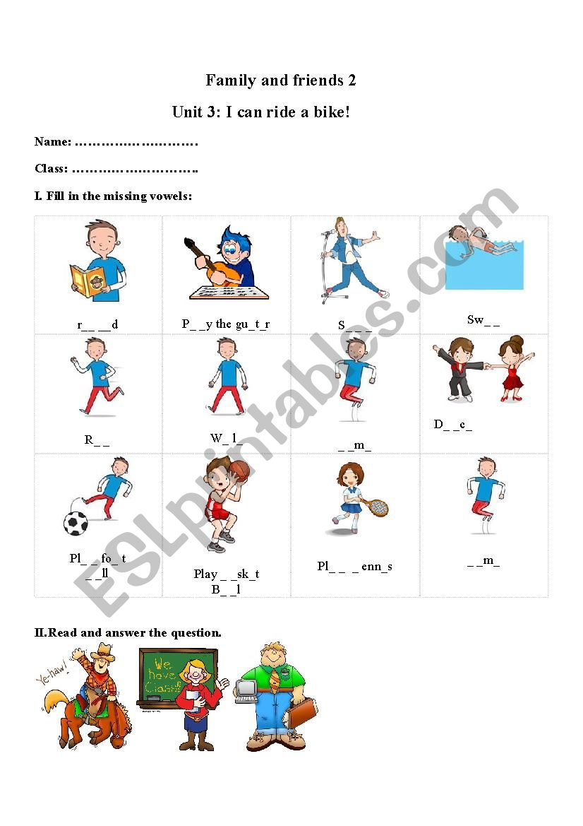 Family and friends 2 unit 3 worksheet