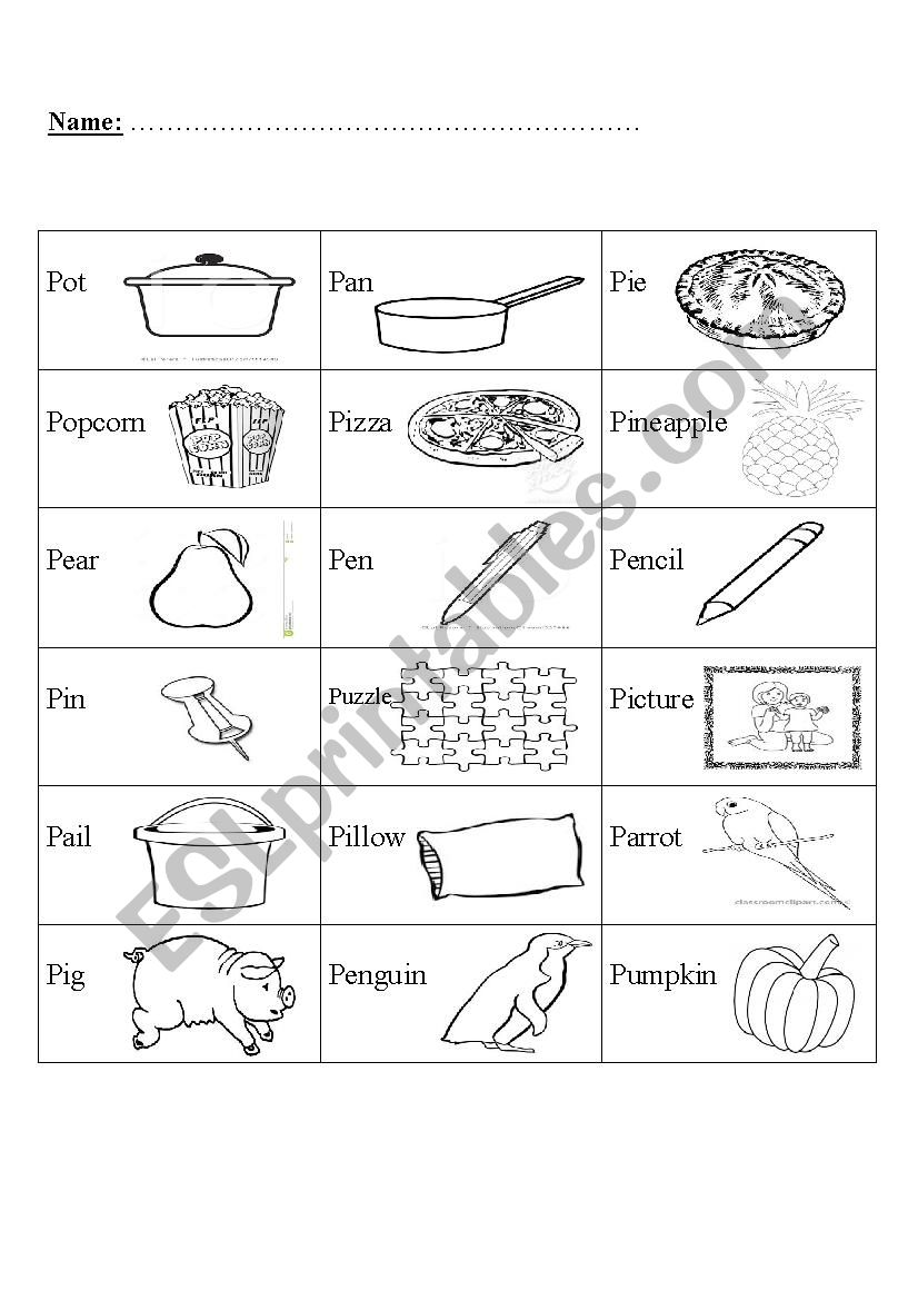 Phonics Letter P Esl Worksheet By Miss Moor