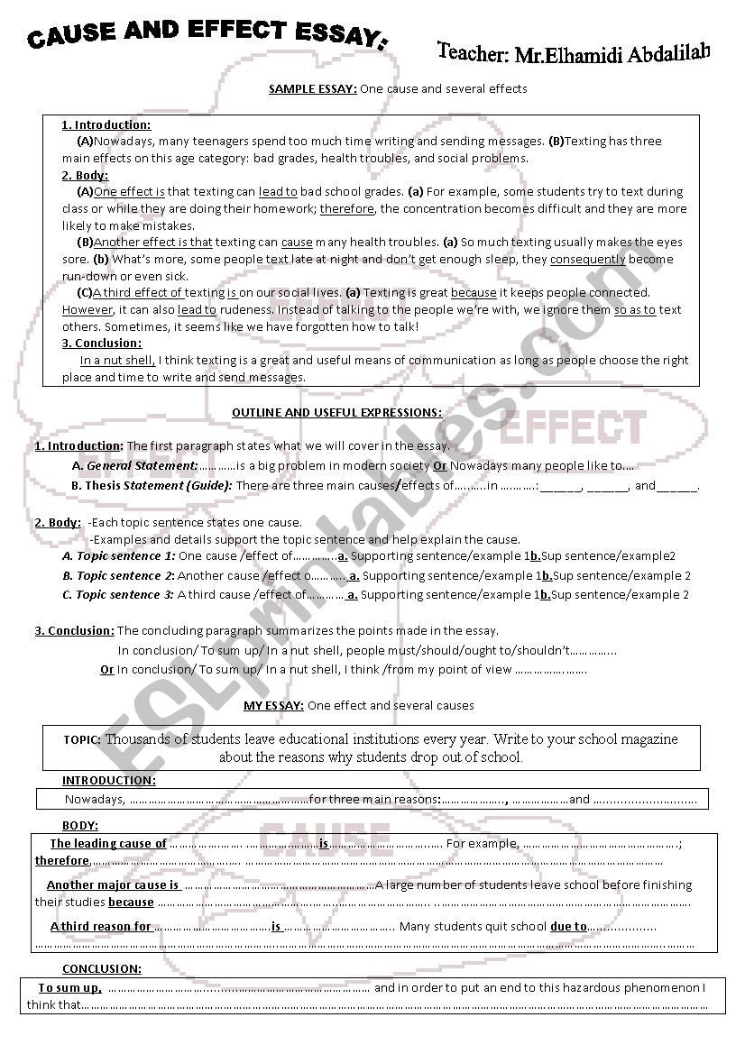 Cause and Effect Essay worksheet