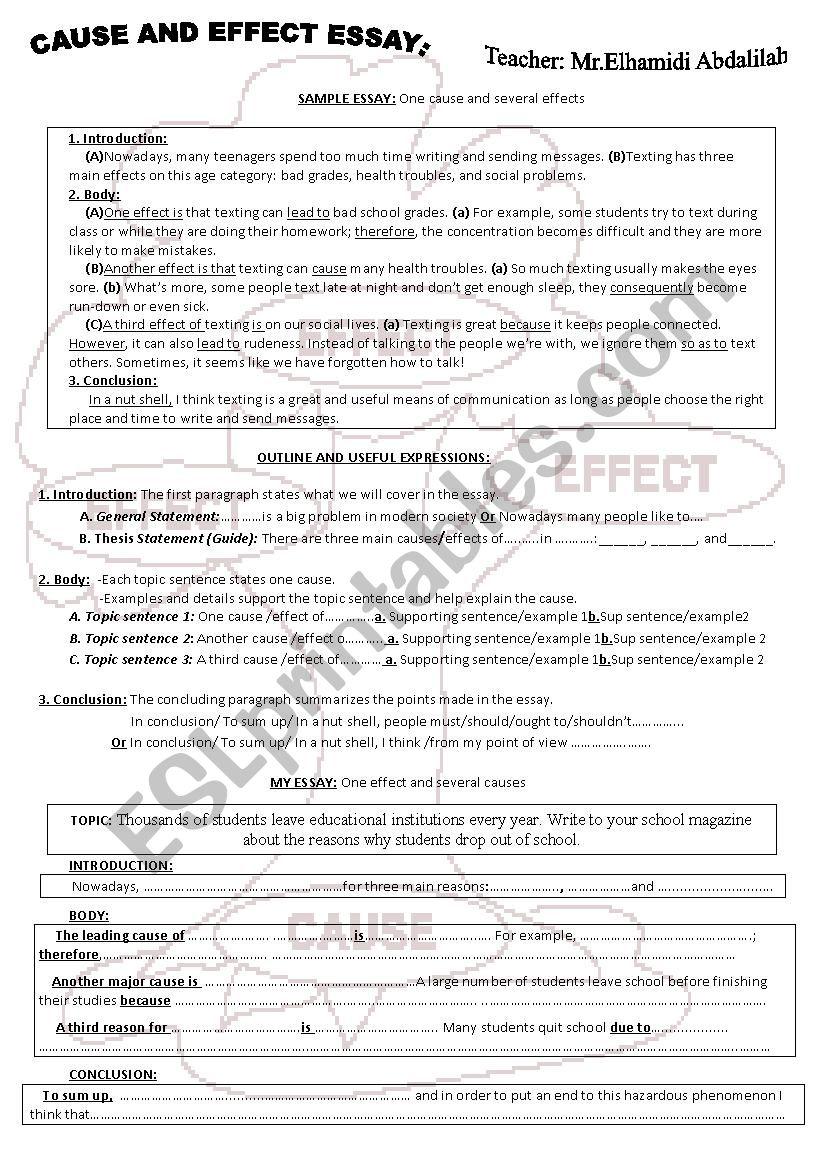 Cause and Effect Essay - ESL worksheet by Abdalilahelhamidi