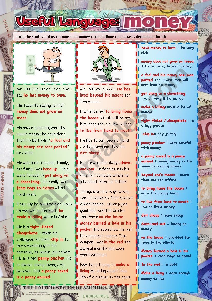 Money: Useful Language worksheet
