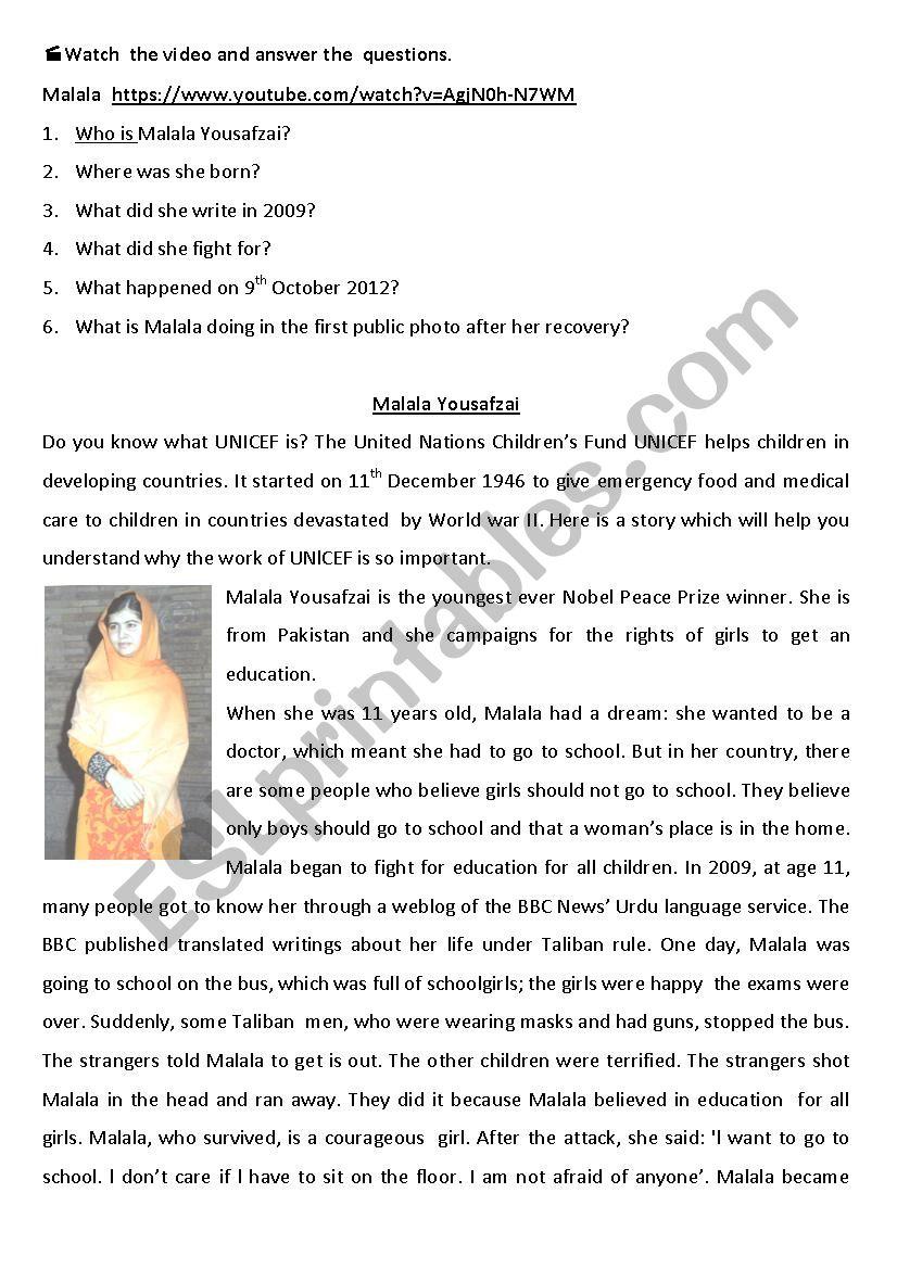 English worksheets: Malala Yousafzai