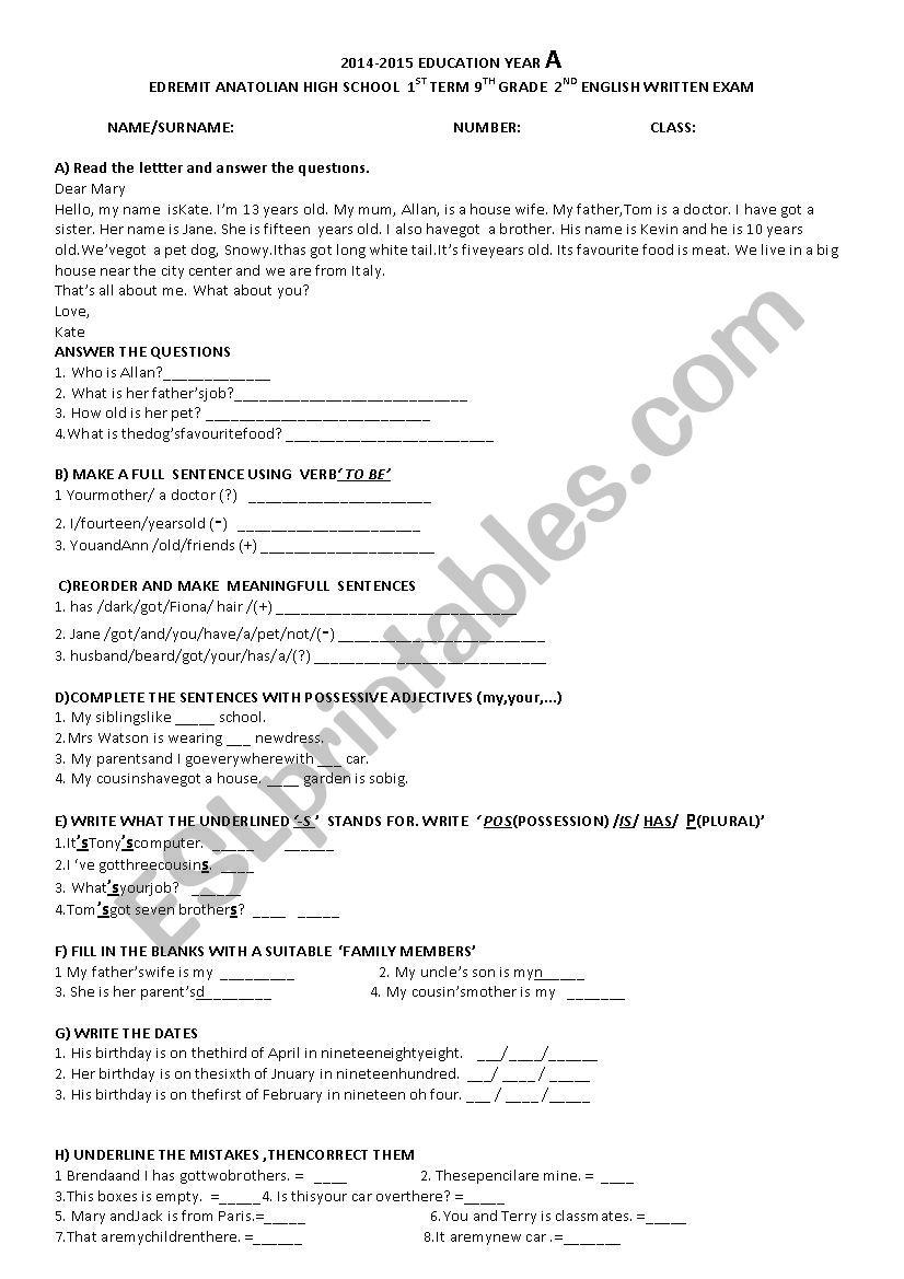 2nd wrýtten exam for 9th grade students - ESL worksheet by dilekche