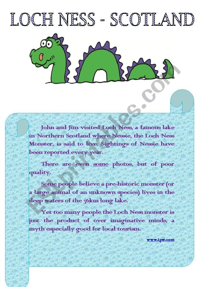 Loch Ness - Scotland worksheet