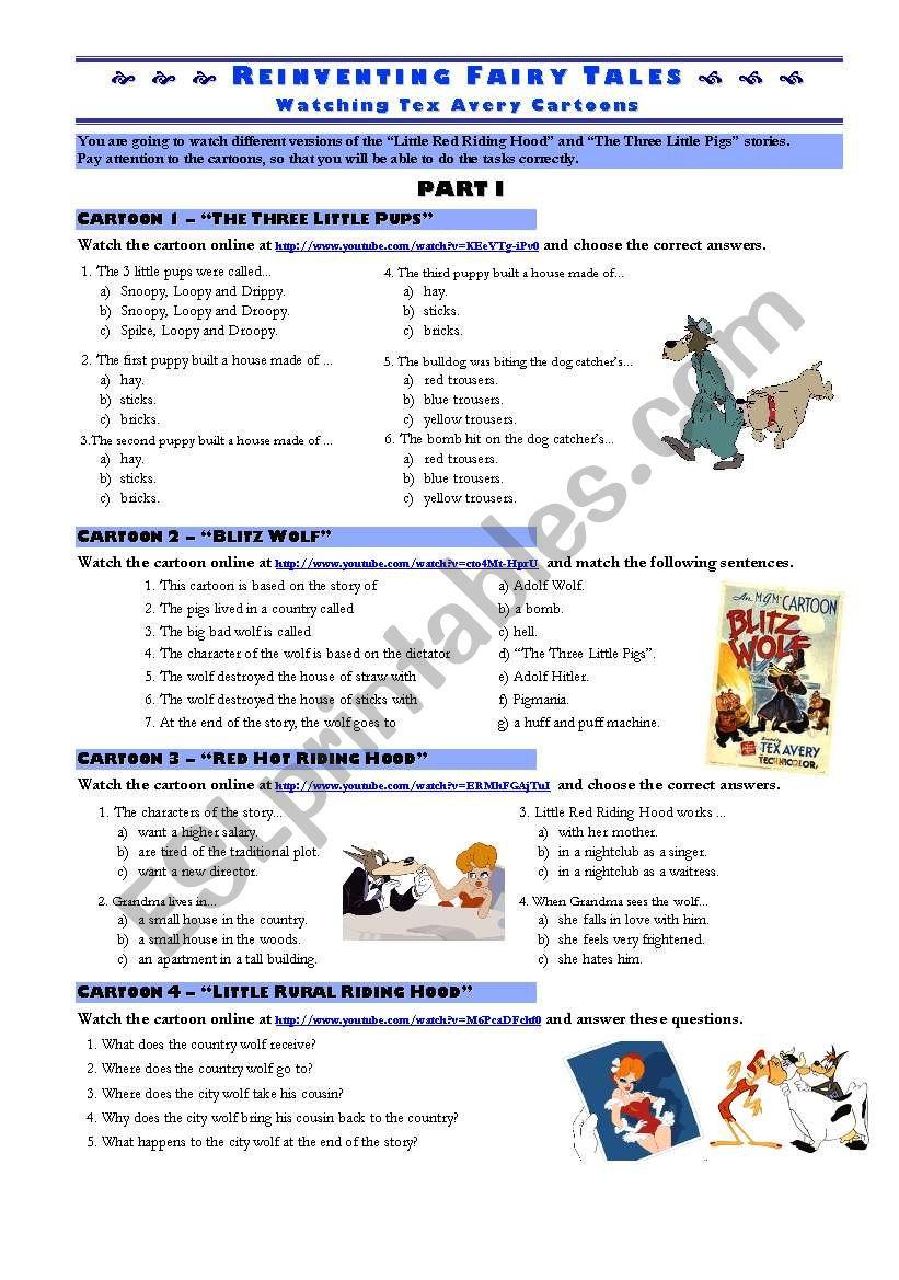 REINVENTING FAIRY TALES - cartoons worksheet