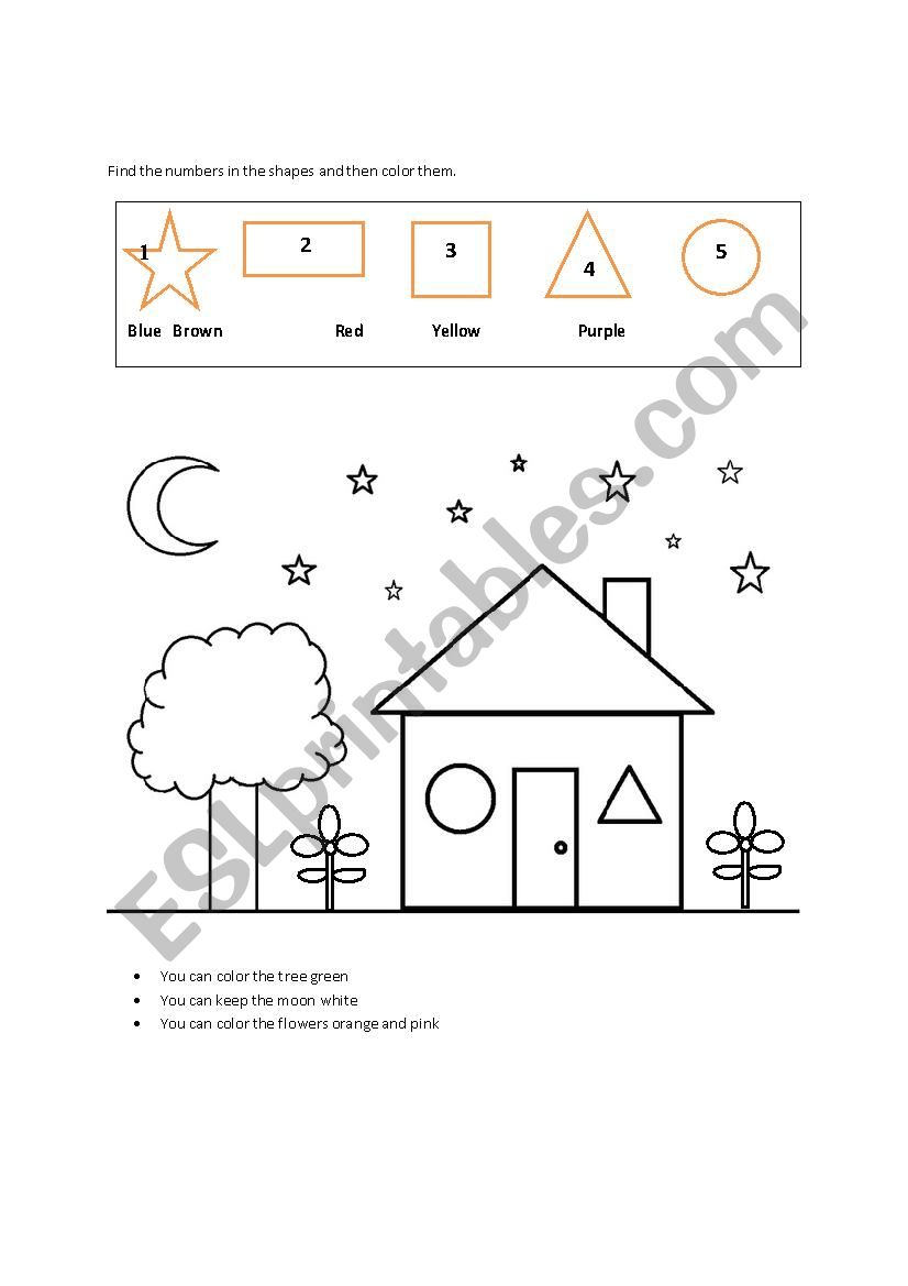colors-shapes-numbers worksheet