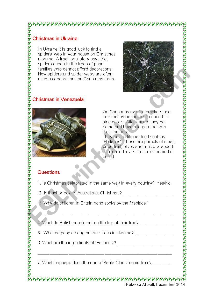 Christmas Around the World - ESL worksheet by RAtwell