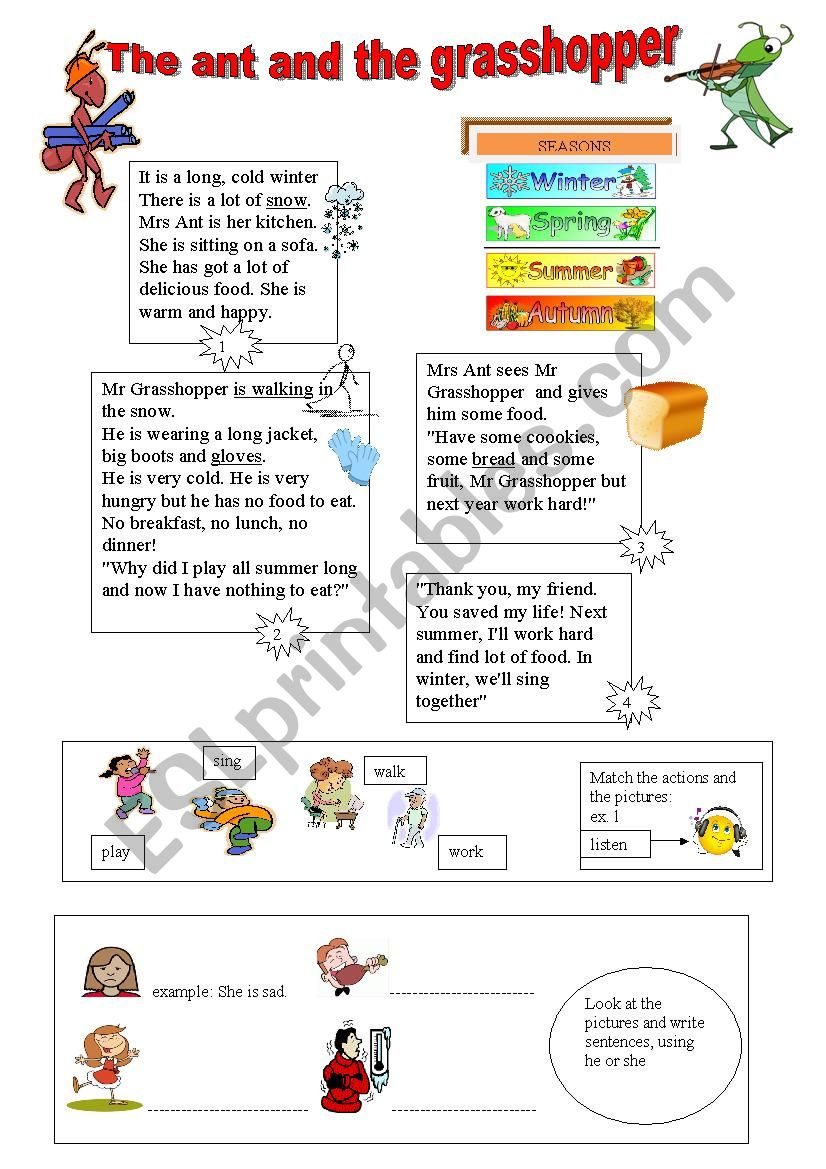 The ant and the grasshopper worksheet
