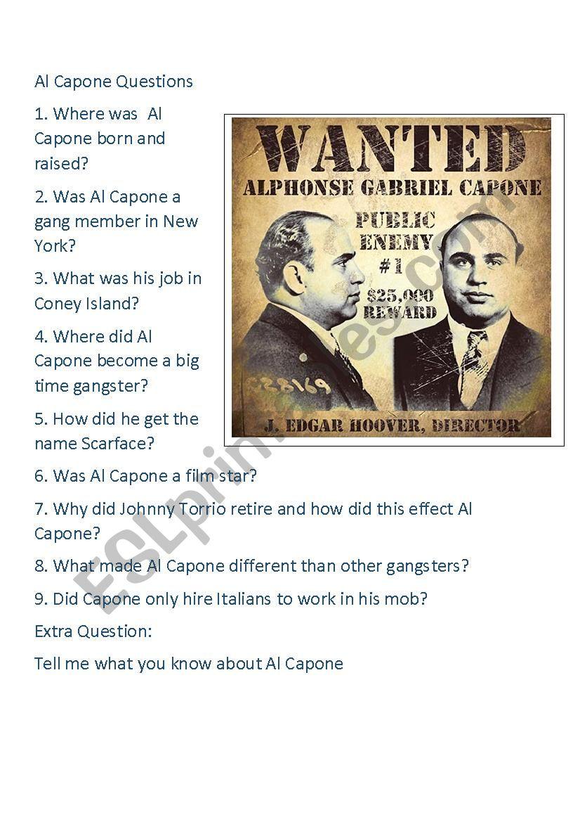 American Gangster - Al Capone worksheet