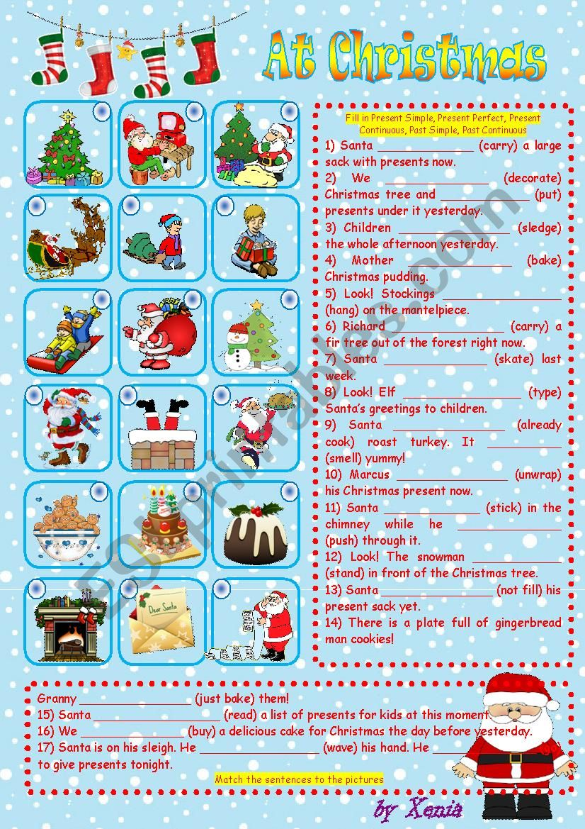 At Christmas worksheet