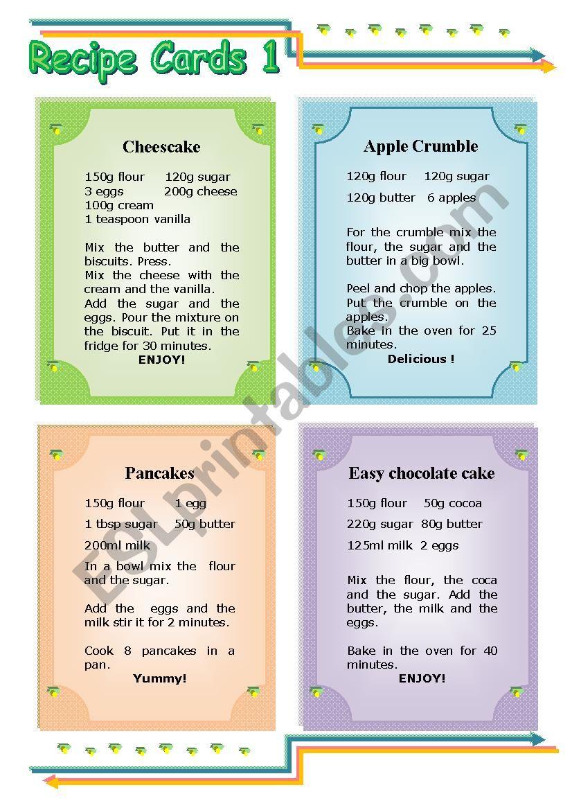 Recipe Cards worksheet