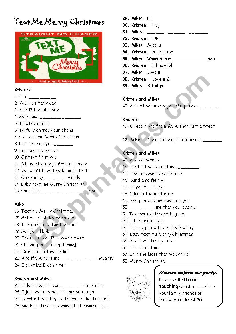 Text Me Merry Christmas.Song Text Me Merry Christmas Esl Worksheet By Narricc