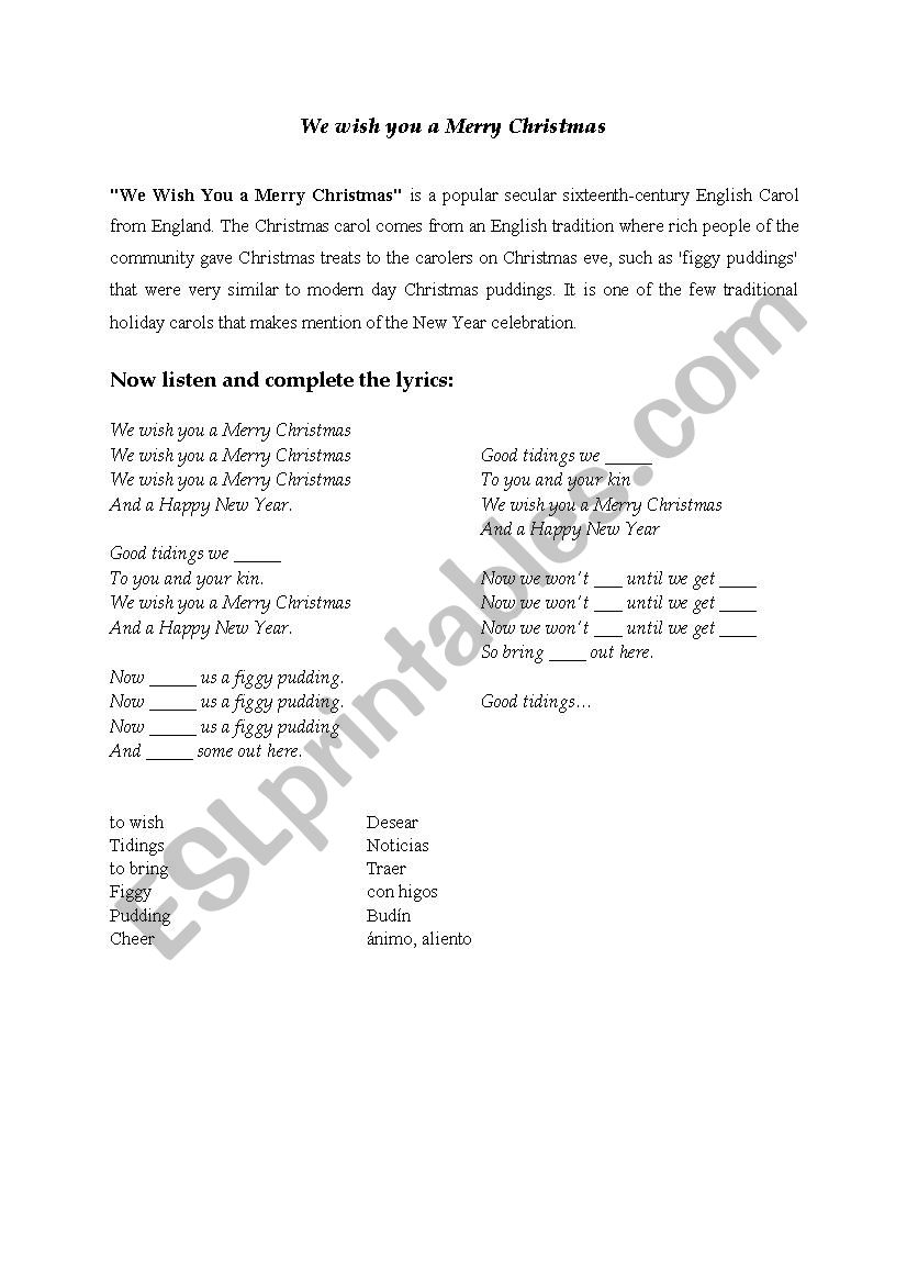 Christmas Carol: We Wish You a Merry Christmas - ESL worksheet by Tuili