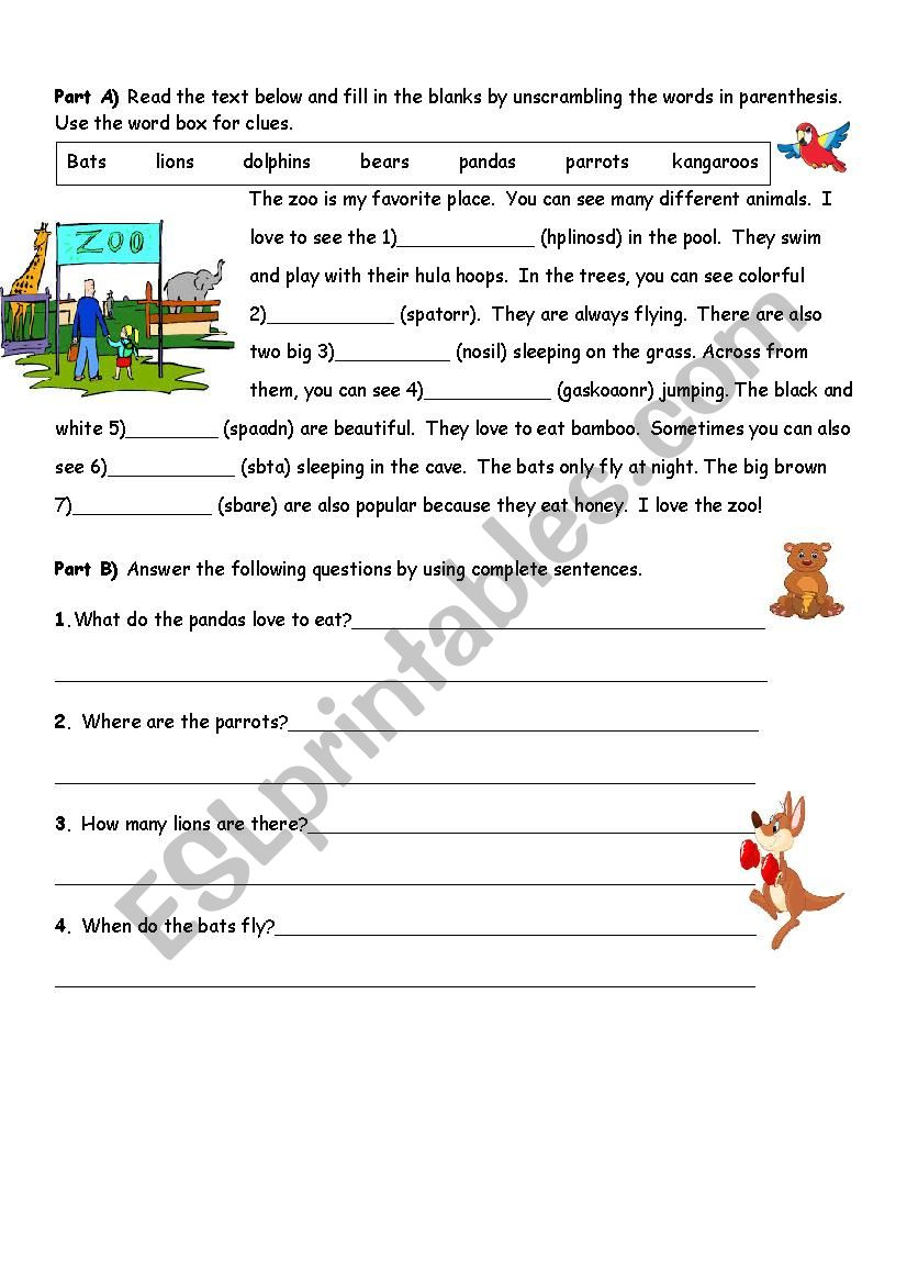 reading text about animals worksheet