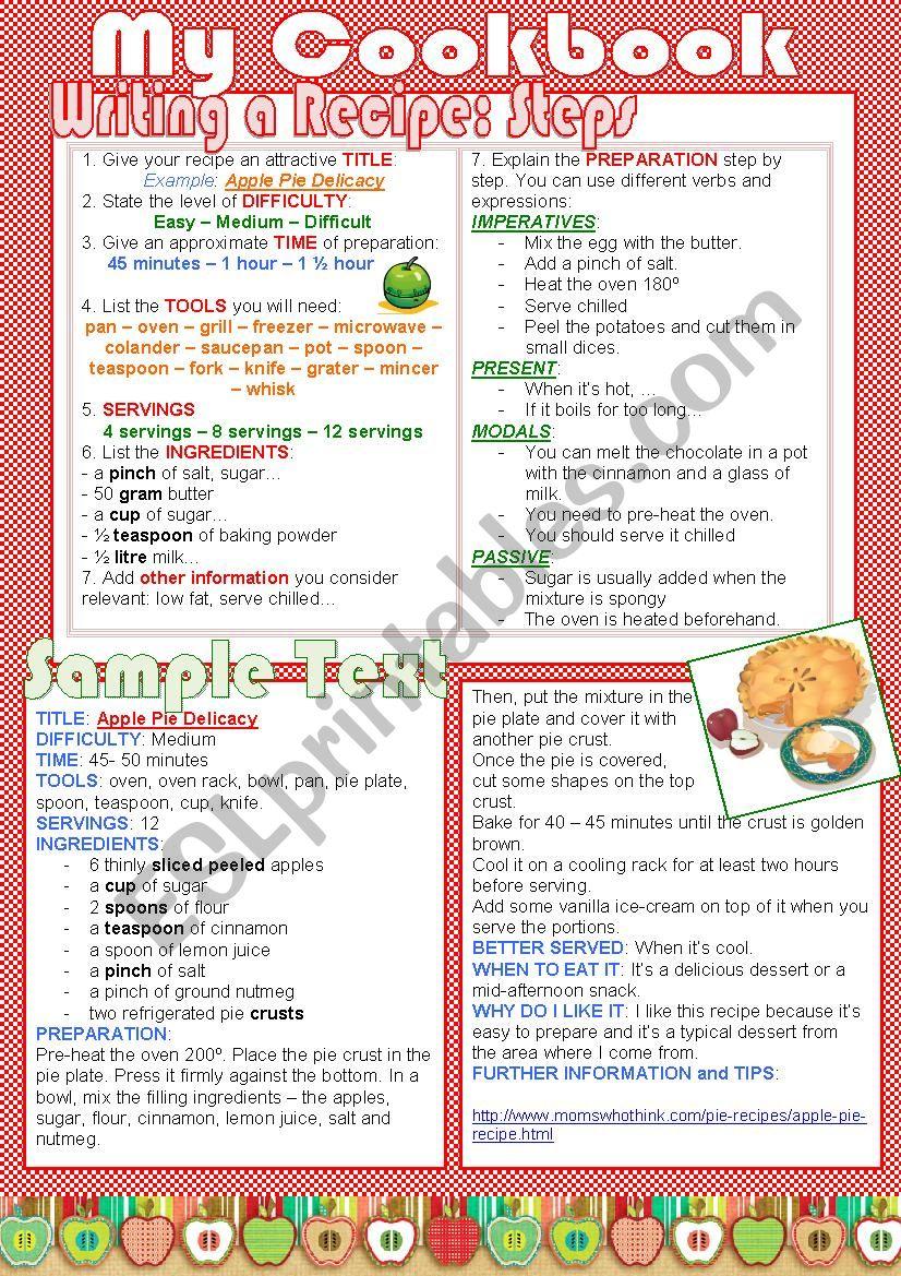 My Cookbook (lesson plan) worksheet