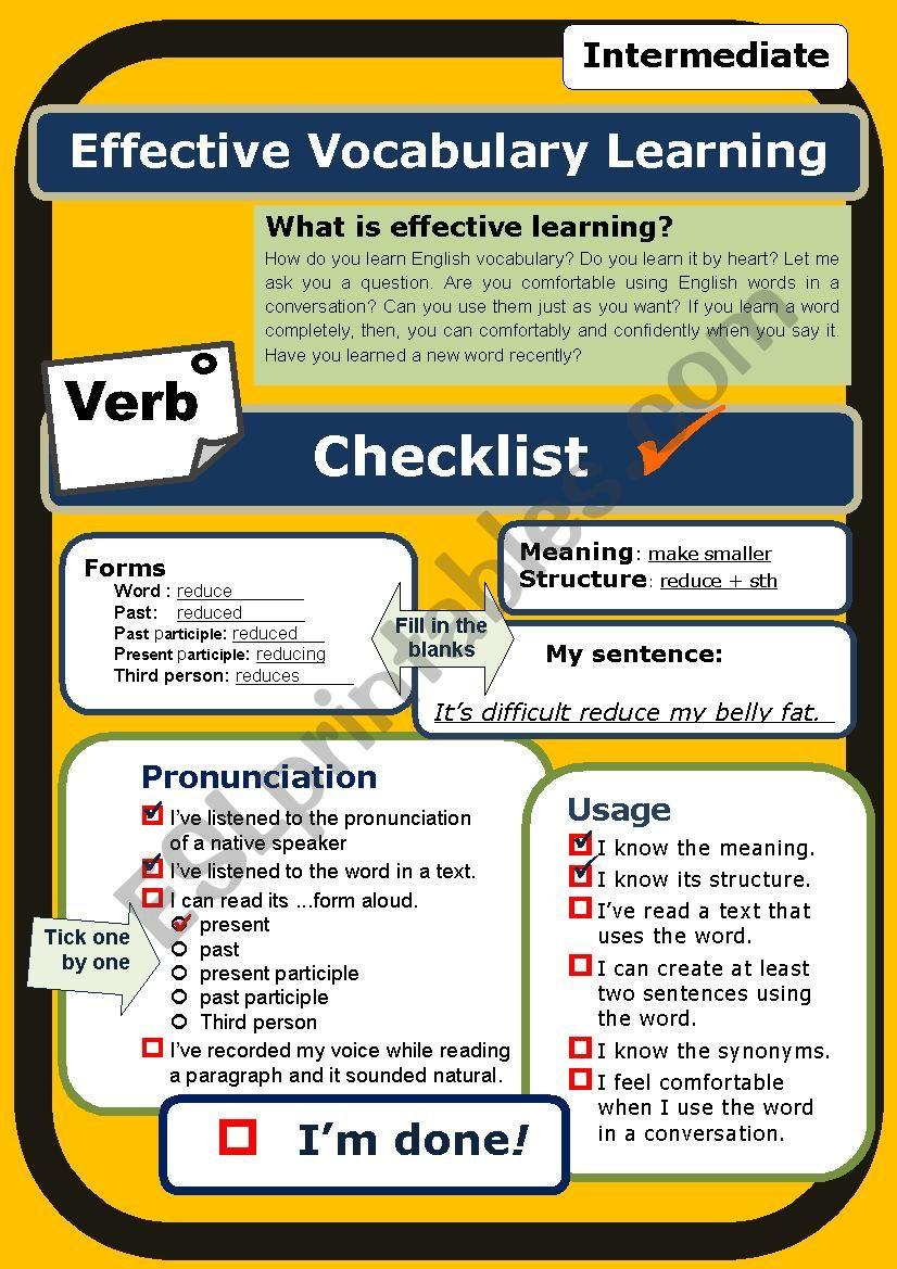 (Self-evaluation Checklist) Verb (intermediate) *Proofread*