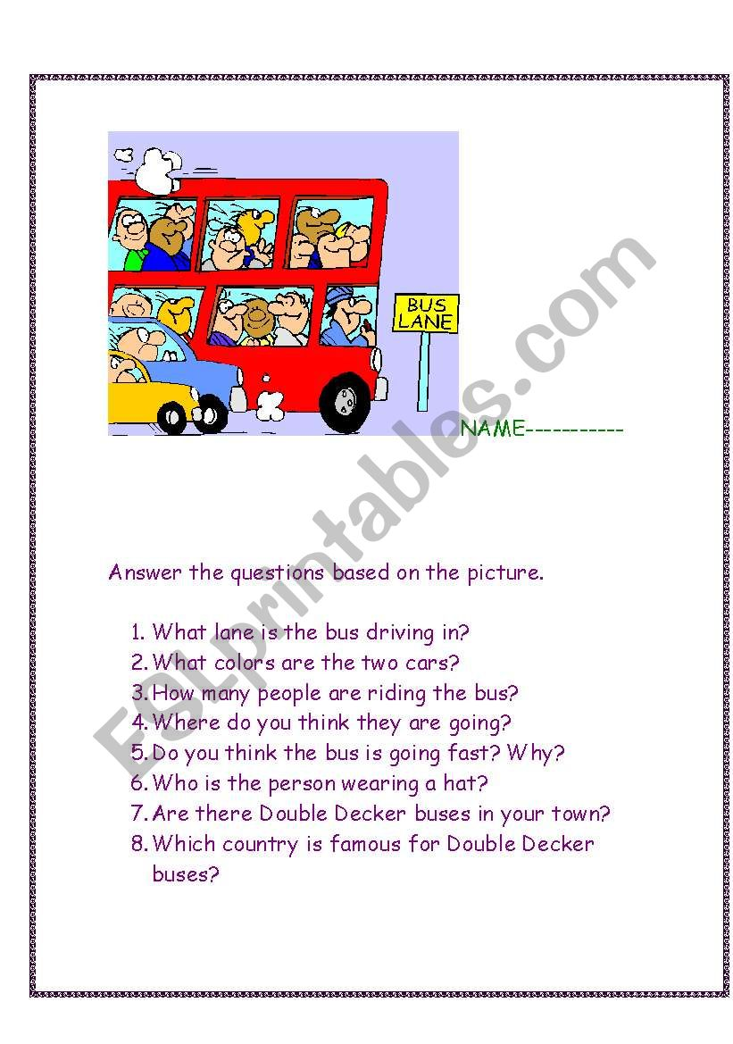 The Wheels on the bus go..... worksheet