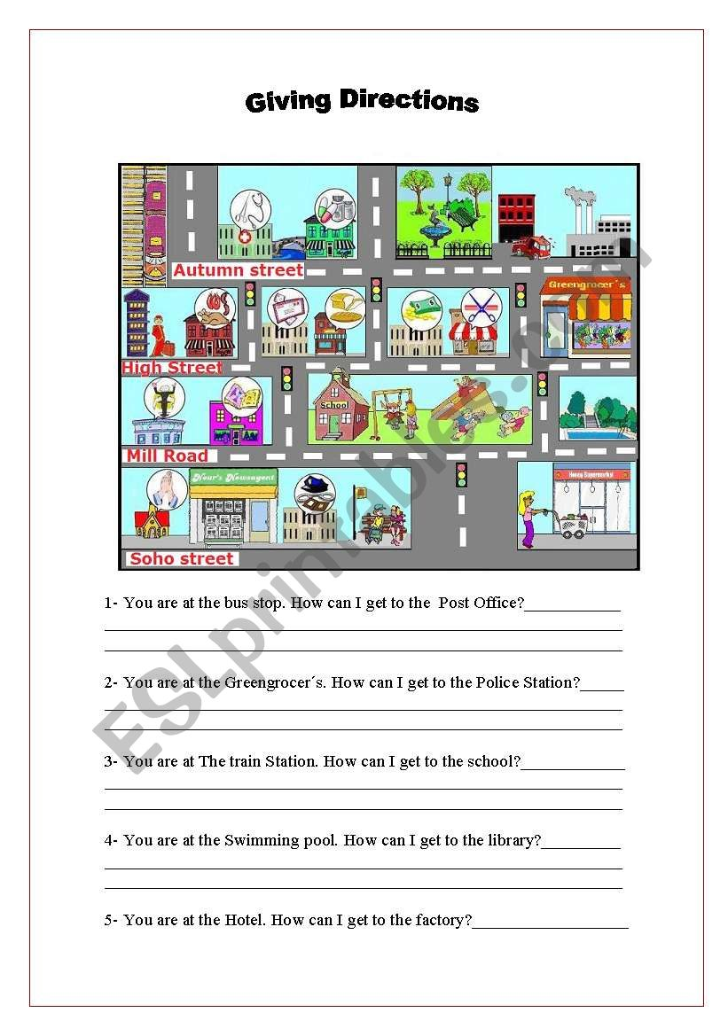 giving directions esl worksheet by malvarosa. Black Bedroom Furniture Sets. Home Design Ideas