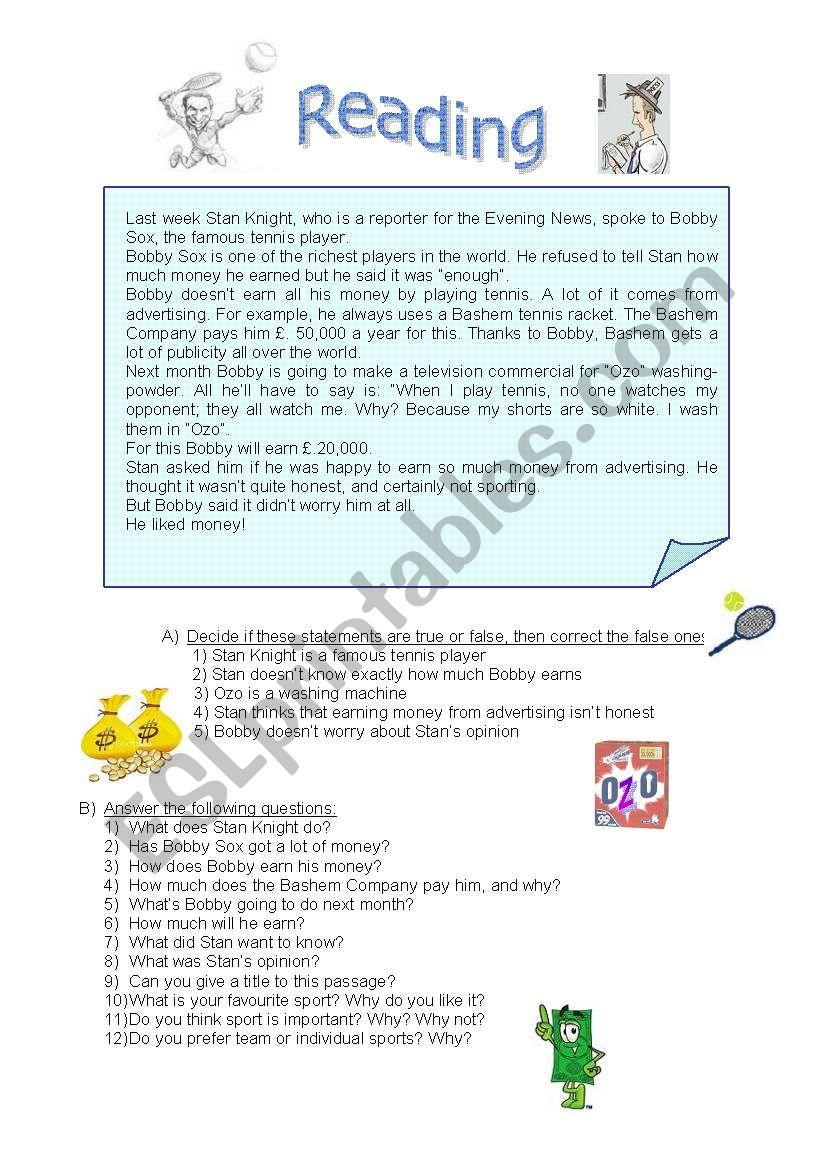 Tennis money and advertising worksheet