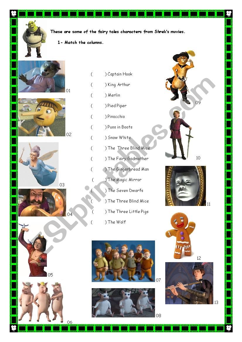 shrek 1 fairy tales characters esl worksheet by jessi j. Black Bedroom Furniture Sets. Home Design Ideas