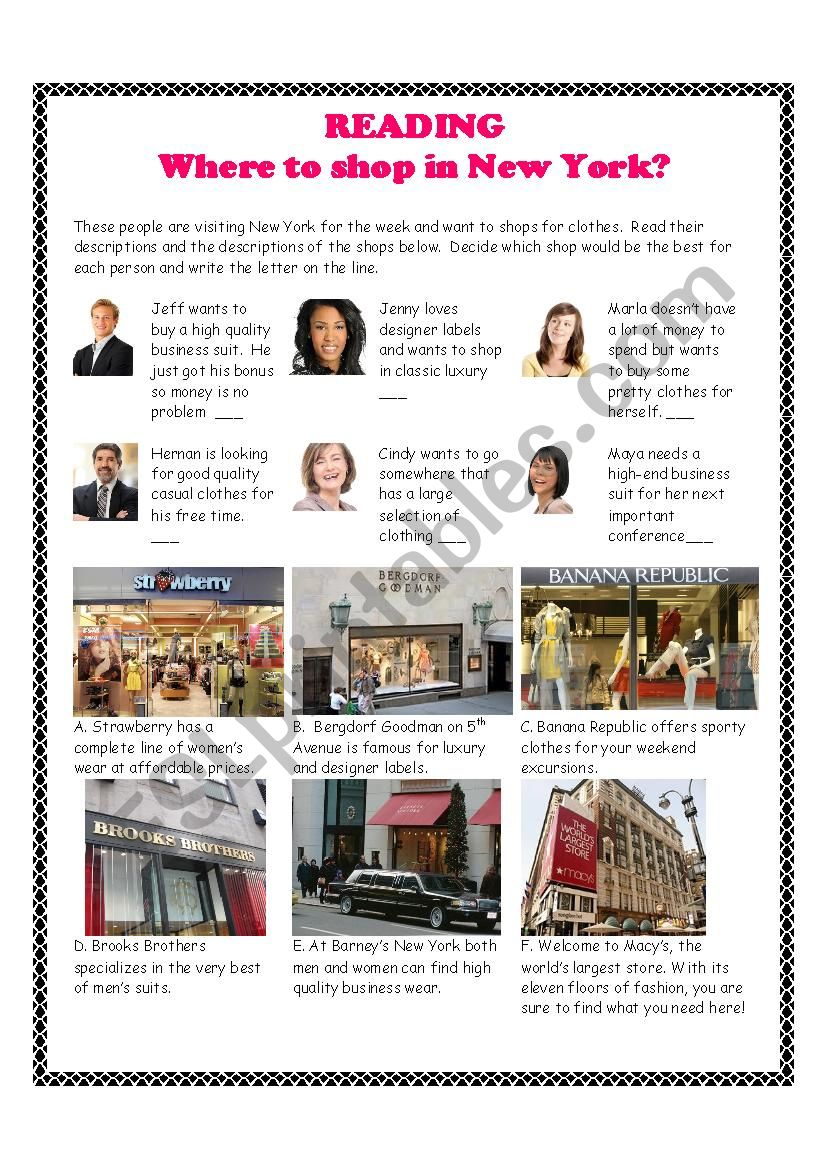 Shopping in New York Reading Exercise