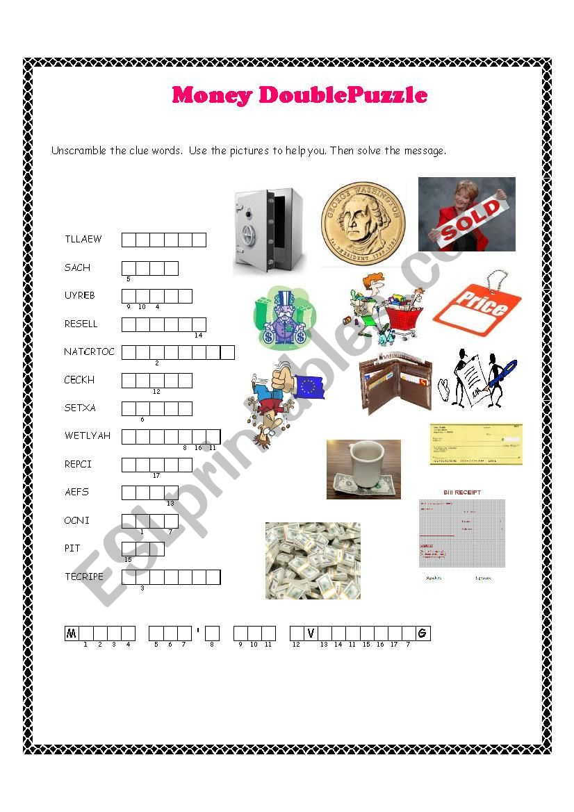 Money Double Puzzle worksheet