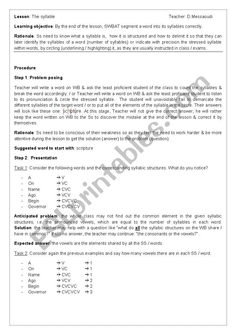 The syllable worksheet