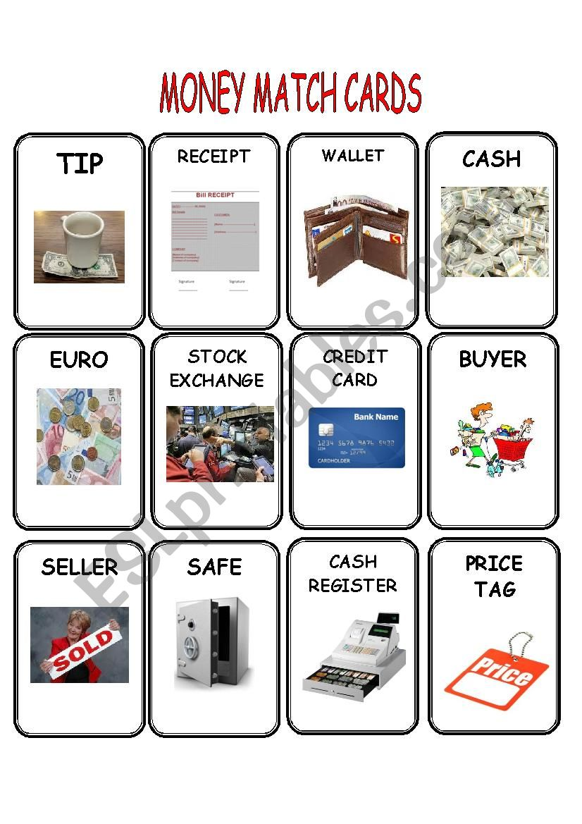 Money Match Cards worksheet