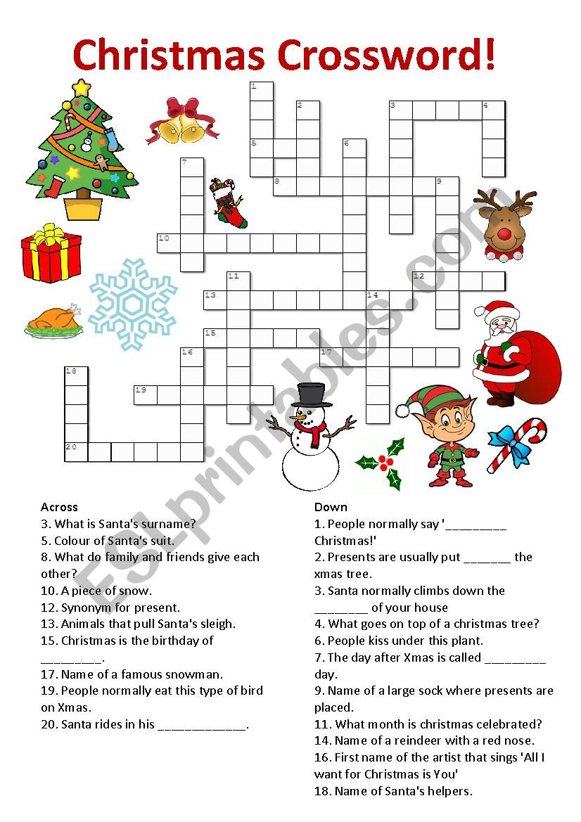 798100_1-Christmas_Crossword Xmas Worksheets Esl on for advanced, family tree, daily routine, first conditional, question words, high intermediate, for beginners weeks, phrasal verbs, free newcomer,