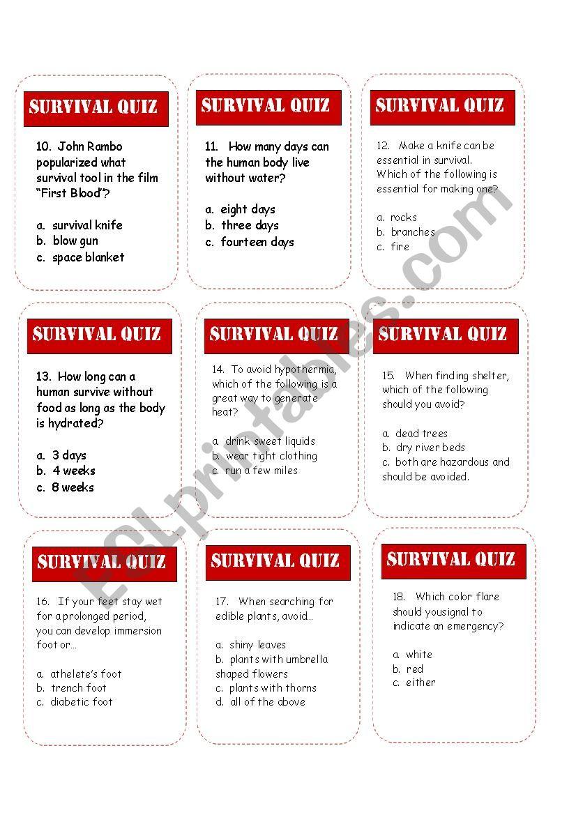 Survival Trivia Game Esl Worksheet By Estherlee76